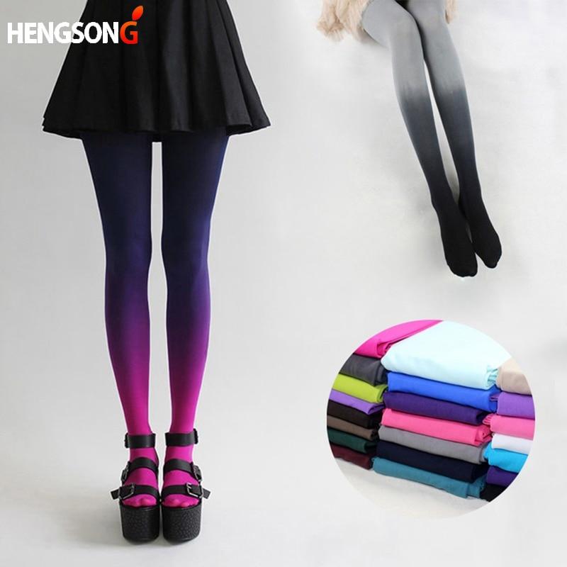 Ladies Hosiery Tights Women Sexy Fashion 120D Elastic Hosiery Slim Tights Gradient Colors Tights