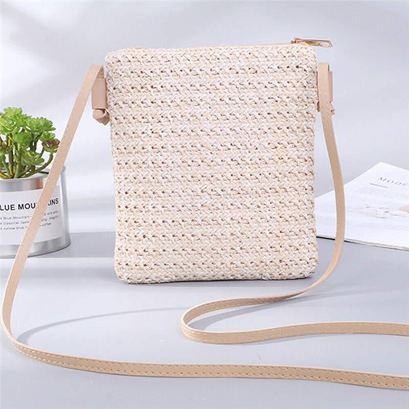 Womens Small Square Straw Bags Beach Style Crossbody Shoulder Bag Handbag Bucket Bag