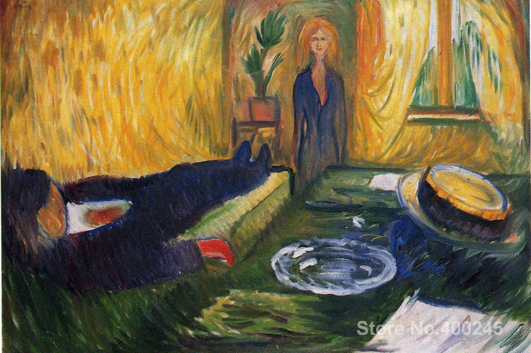 Pintura al óleo The Murderess de Edvard Munch hecha a mano de alta calidad