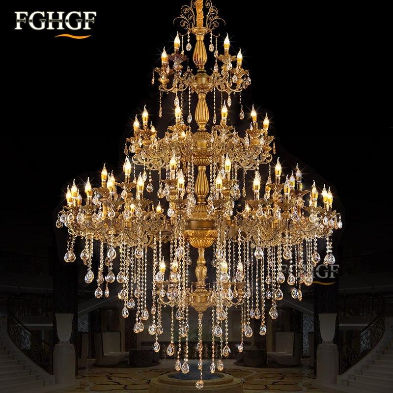 Candelabro de cristal moderno, candelabros de cristal de lujo con brillo, accesorios de iluminación, lámpara de Color bronce, luces de Proyecto de Hotel villa