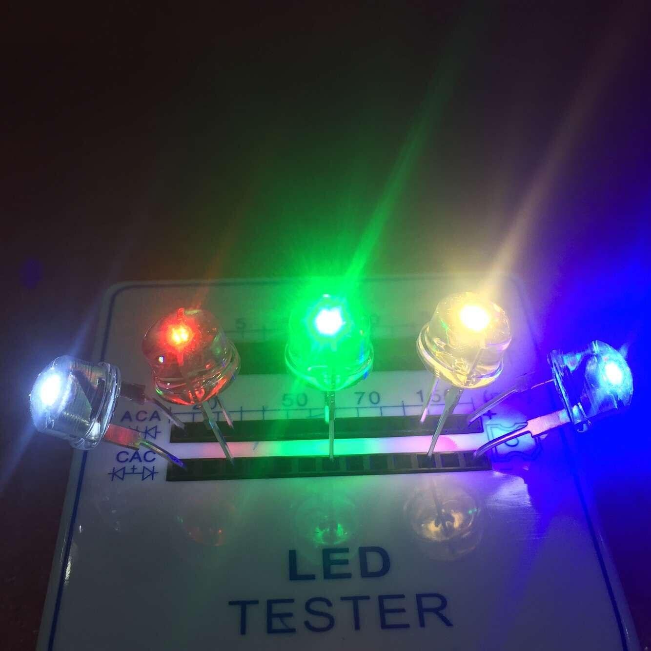 Venda 5 Cores Hot 50 pcs multicolor 8mm LED Vermelho transparente amarelo Azul Verde Branco F8 Emissor de Luz Do Chapéu de Palha LED diodo