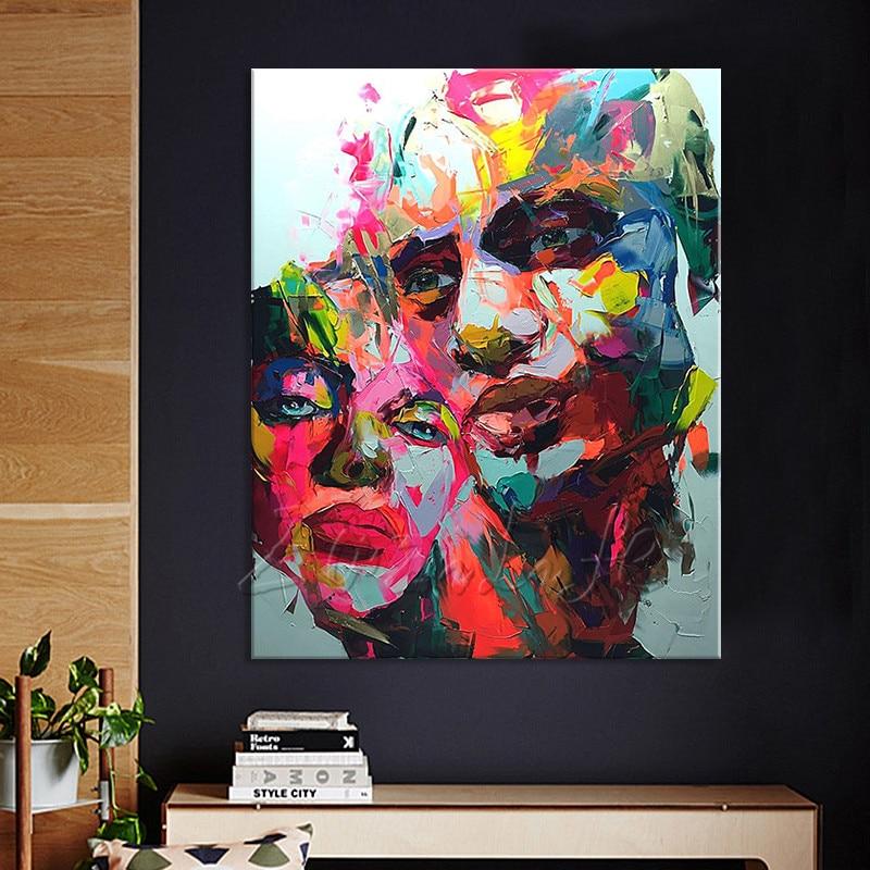 Pintados à Mão Pintura a Óleo Francoise Nielly Paleta Faca Amante Retrato Rosto Personagem Figura Canva Parede Arte Imagem 1