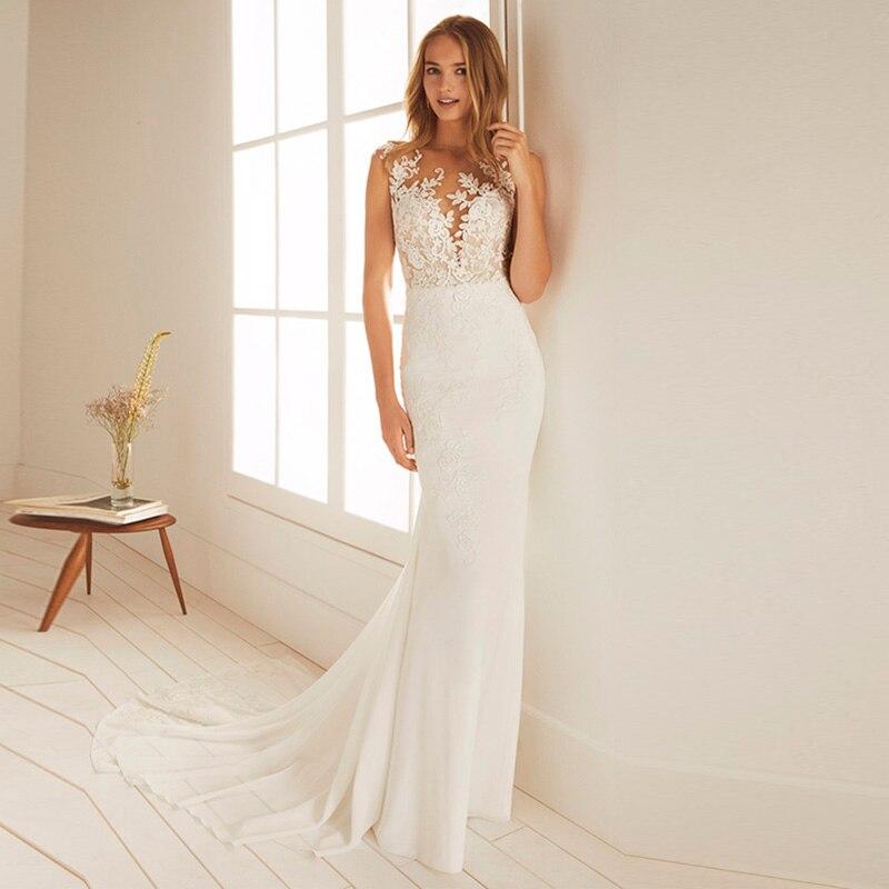 Vestido de novia de La Sirenita de eigtale 2019, vestidos de novia estilo bohemio con apliques de cuello redondo, vestido de fiesta de boda de gasa con espalda de ilusión, envío gratis