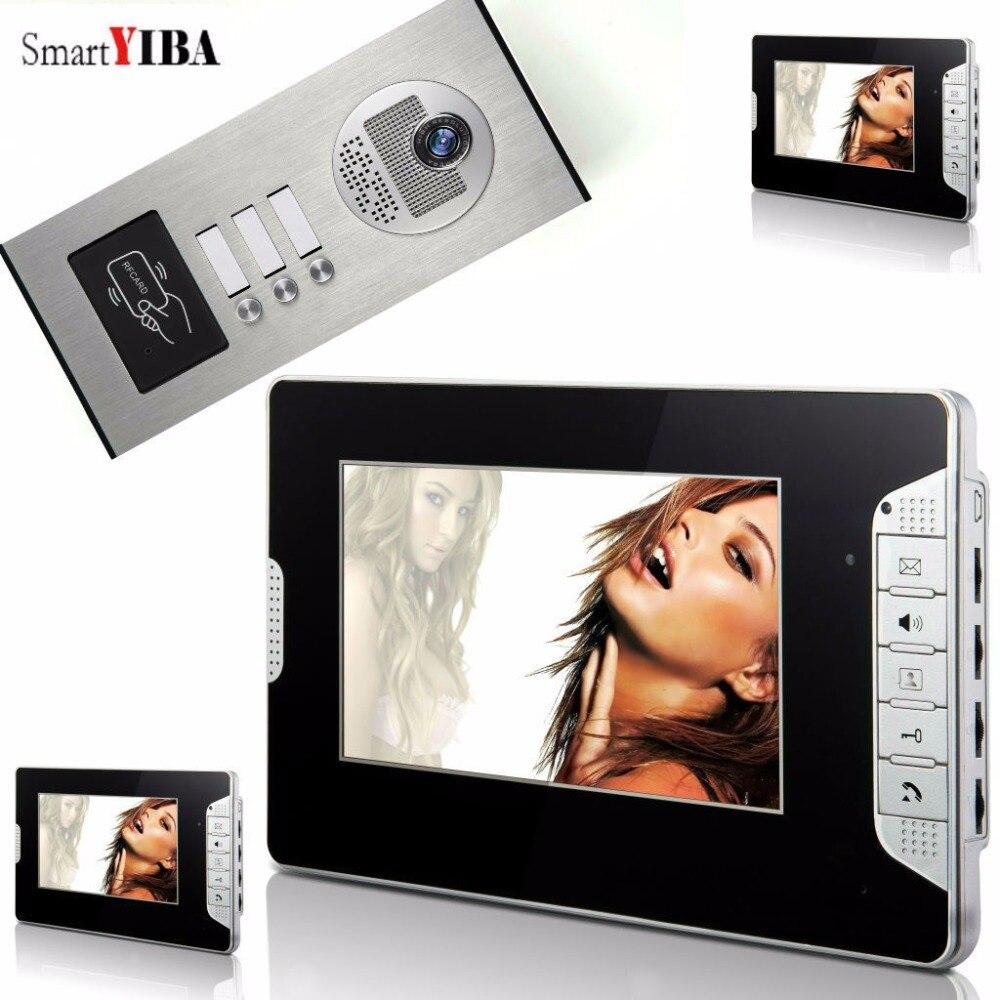 Videoportero SmartYIBA para casa, videoportero de 7 pulgadas, timbre de puerta, timbre de puerta, sistema de Control de acceso RFID para 3 unidades de apartamento
