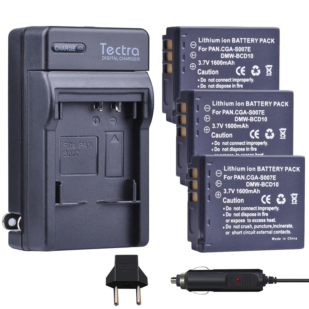 Tectra 3 uds DMW-BCD10 CGA-S007E batería + cargador Digital Panasonic Lumix DMC-TZ1 DMC-TZ1BK DMC-TZ1BS DMC-TZ3EB-K DMC-TZ2