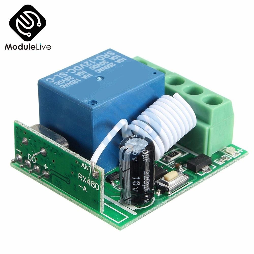 DC 12V 1 Channel 1-CH 1CH 433MHz Wireless Relay Module RF Remote Control Switch Heterodyne Receiver 3.5cmX3cmX1.6cm