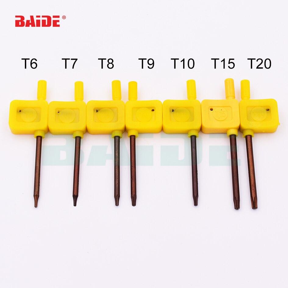 S2 destornillador T6 T7 T8 T9 T10 T15 T20 amarillo bandera Torx destornillador tipo Llave llave Herramientas Abiertas 200 unids/lote