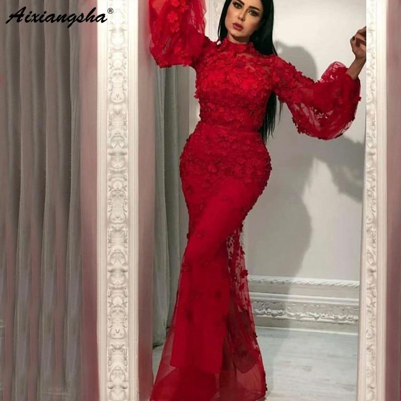 Burgundy Muslim Evening Dresses 2019 Mermaid Long Sleeves Flowers High Neck Saudi Dubai Kaftan Arabic Elegant Long Evening Gowns