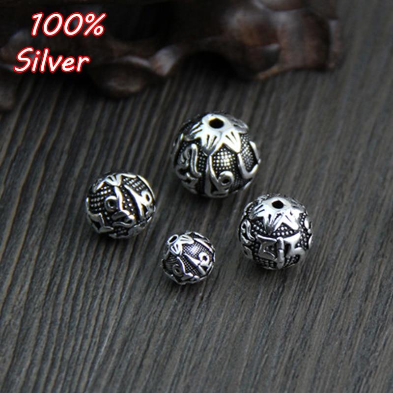 Thai prata seis palavras mantra redondo espaçador contas diy pulseira 924 prata esterlina cor jóias descobertas 8-14mm