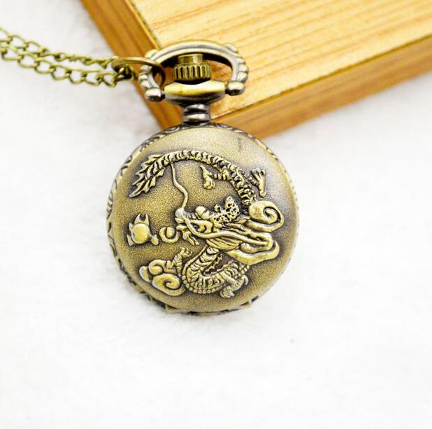 Retro Chinese Zodiac Bronze Dragon Pocket Watch with Pendant Necklace chain Quartz movement mens childr watches Relogio De Bolso