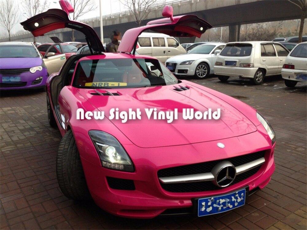 Alta calidad rosa brillante caramelo Rosa vinilo coche envoltura de burbujas tamaño libre 1,52*20 M (5 pies * 65 pies)