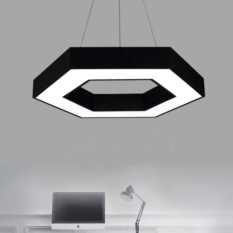 Офисная люстра, светодиодная, современная, оригинальная, Геометрическая, для ресторана, гостиной, кафе, столовой, шестиугольный кулон, лампа, 24 Вт