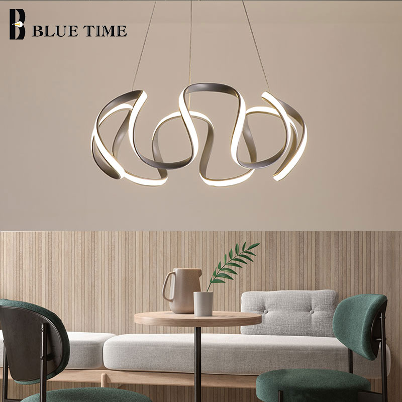 creative home fixtures modern led pendant lights for living room bedroom dining room originality led pendant lamps input ac 220v Gray Finished Modern Hanging Lamps LED Pendant Lights For Living Room Dining Room Bedroom PVC Lampshade Home LED Pendant Lamps
