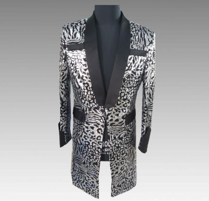Chaqueta con diseño de lentejuelas para hombre, chaqueta con diseños para hombre, trajes de actuación para hombre, ropa larga para cantantes, vestido de baile de estilo estrella, punk rock