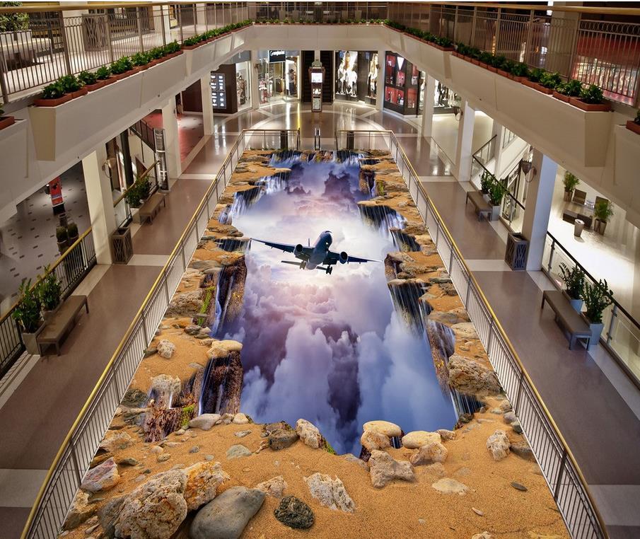 Suelo fotográfico personalizado 3D papel pintado arte moderno avión, grieta, pintura tridimensional auto-adhesivo PVC papel pintado piso 3D