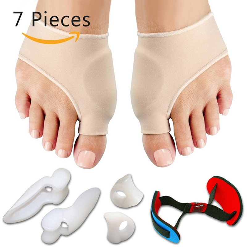 7Pcs/Set Bunion Corrector Gel Pad Stretch Nylon Hallux Valgus Protector Guard Toe Separator Orthoped