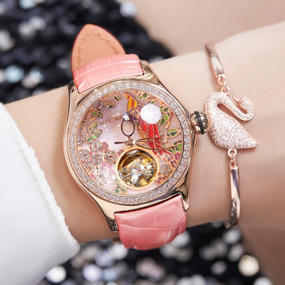 2021 Reef Tiger/RT Womens Luxury Fashion Watches Diamond Automatic Tourbillon Watch Leather Strap Watch Relogio Feminino RGA7105 enlarge
