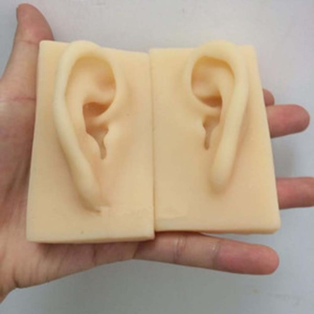 1 pair 1:1 Natural Size Human Left/Right Ear Model Life Size Silicone Ear Acupuncture Practice Model Simulation Model of The Ear