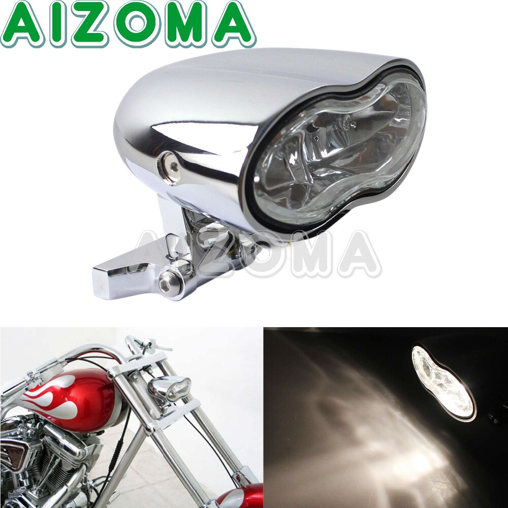 Cromado motocicleta personalizado Oval faro H3 55W doble frente faros delanteros lámpara para Harley Café Racer Sportster Iron 883