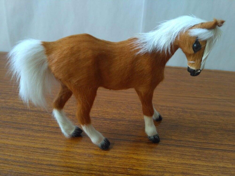 Caballo de imitación pequeño de resina y caballo amarillo de piel modelo regalo 12x10cm 1960
