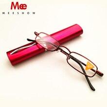 Meeshow Pocket Compact Premium Leesbril Met Aluminium Pen Houder Case Sterkte + 1.0-3.5 Bril T0388