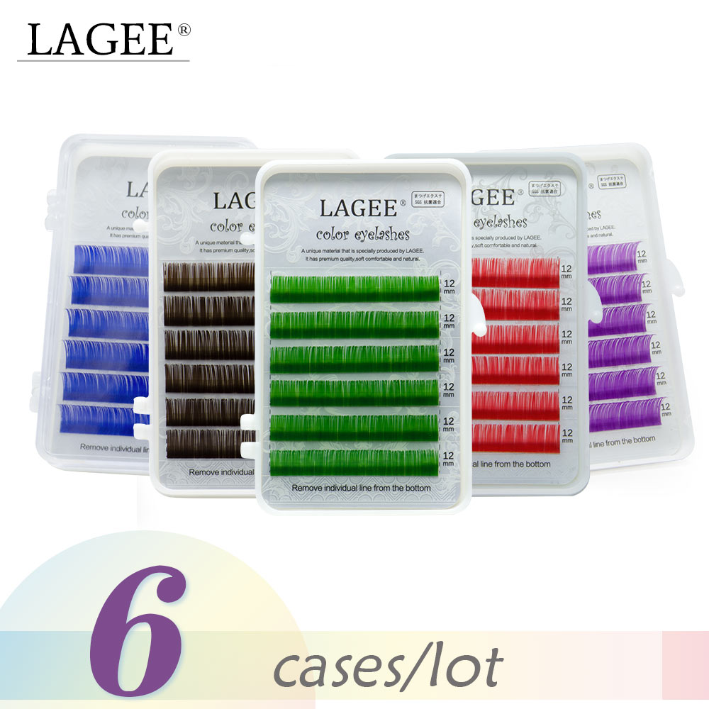 LAGEE-extensiones de pestañas, 6 cajas, Color púrpura, azul, pestañas individuales, seda suave, color macarrón, pestañas falsas, pestañas de seguridad aséptica