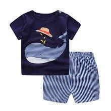 Verão bebê manga curta para roupas meninos e meninas algodão roupa interior terno para crianças dois conjuntos de roupas para bebês