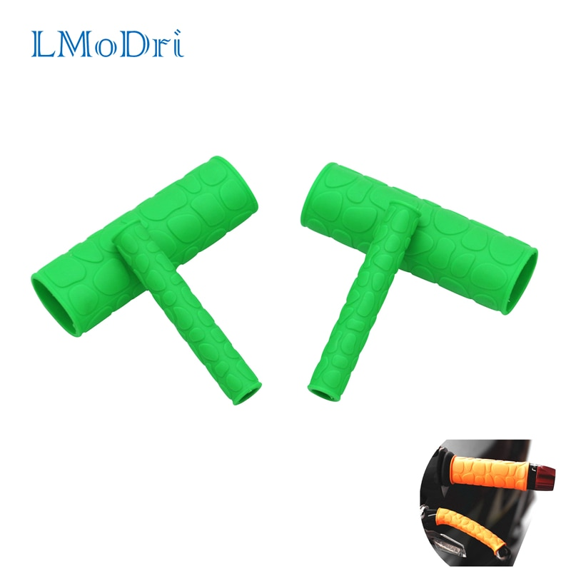 LMoDri 1 Pair Motorcycle Handle Grips Cover With Pattern and Handbrake Lever Covers Scooter E-bike Universal