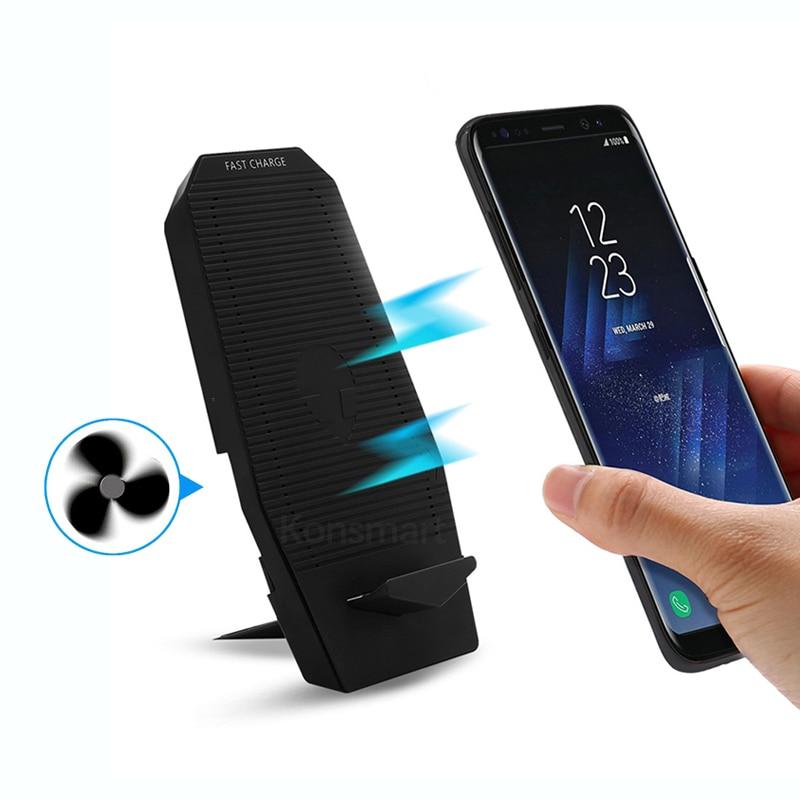 Охлаждающий вентилятор складной Qi беспроводной зарядное устройство Подставка для iPhone 8 Plus XR XS Samsung S10 S9 S8 Huawei Mate20 P30 Pro 10W быстрая зарядка