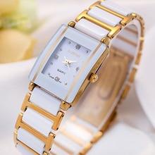 LONGBO Brand Luxury White and Gold Ceramic Fashion Rhinestone Sports Watches waterproof Gift Watche Quartz Women Dress Watch