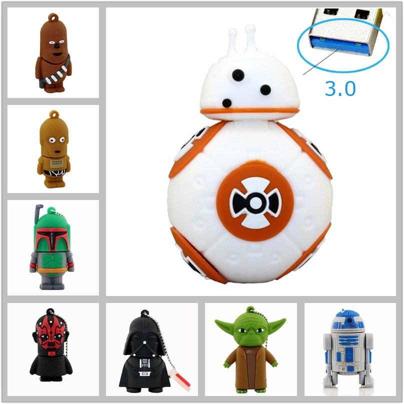 De alta velocidad de memoria usb de Star Wars unidad flash usb 3,0 pen drive tarjetas flash pendrive 16G 32GB de dibujos animados BB8 Darth Vader de memoria de disco U
