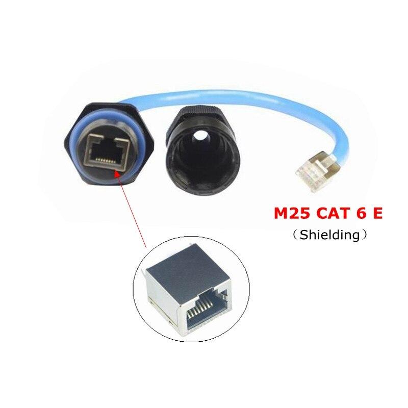 Cable conector resistente al agua de 25CM RJ45 CAT6E Ethernet IP68 M25 para cables de red ADSL, LED, LCD, punto de acceso para exterior, cámara IP