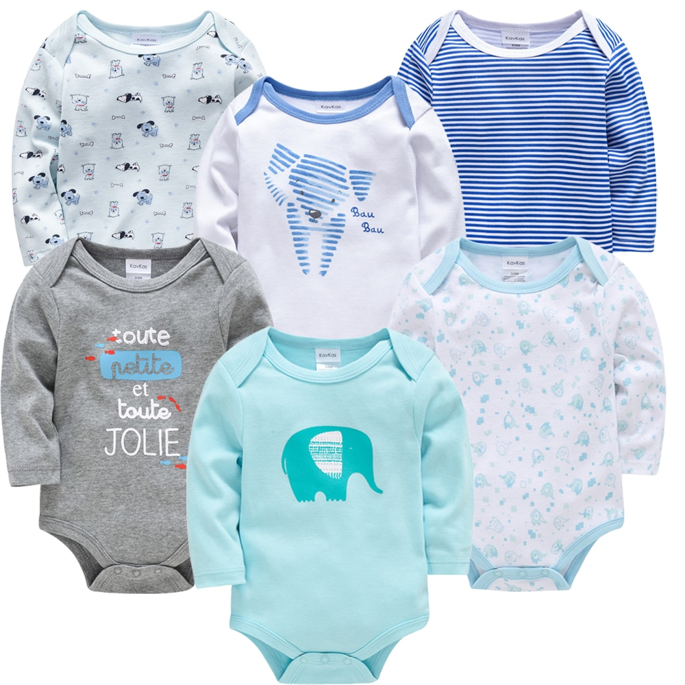 Kavkas Baby Boys Girls Bodysuit 6 PCS 3 PCS Long Sleeve 100% Cotton Baby Clothes 0-12 months Newborn body bebe Jumpsuit Clothing