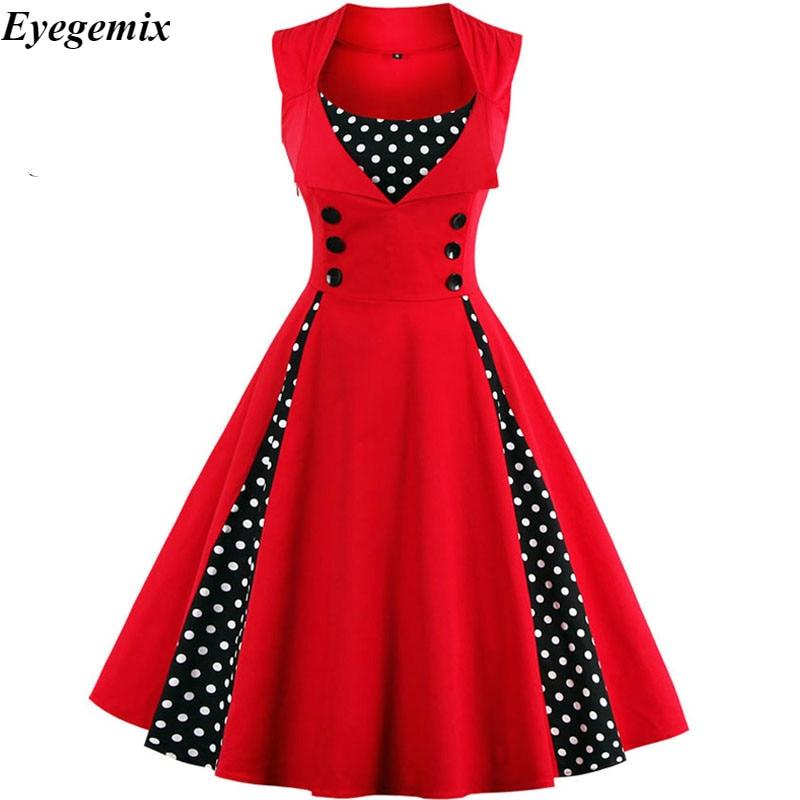 50s 60s Vintage Retro Women Dress Sleeveless Polka Dot Party Vestido Elegant Patchwork Red A Line Dress Casual Big Plus Size 4XL
