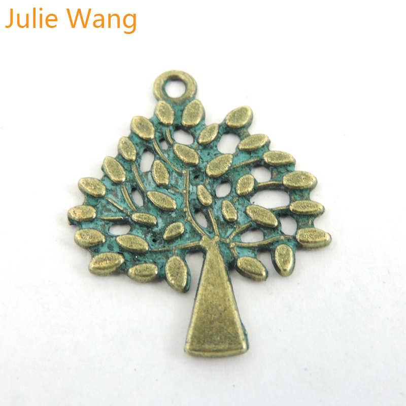 Collar de aleación de Pátina verde antigua con dijes de árboles pequeños de 16 piezas, pulsera colgante, joyería, llavero, decoración de accesorios
