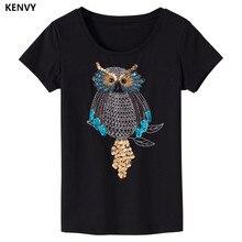 Kenvy marca de moda feminina high-end de luxo magro verão cartoon em torno do pescoço selvagem tridimensional manga curta t-shirts topo