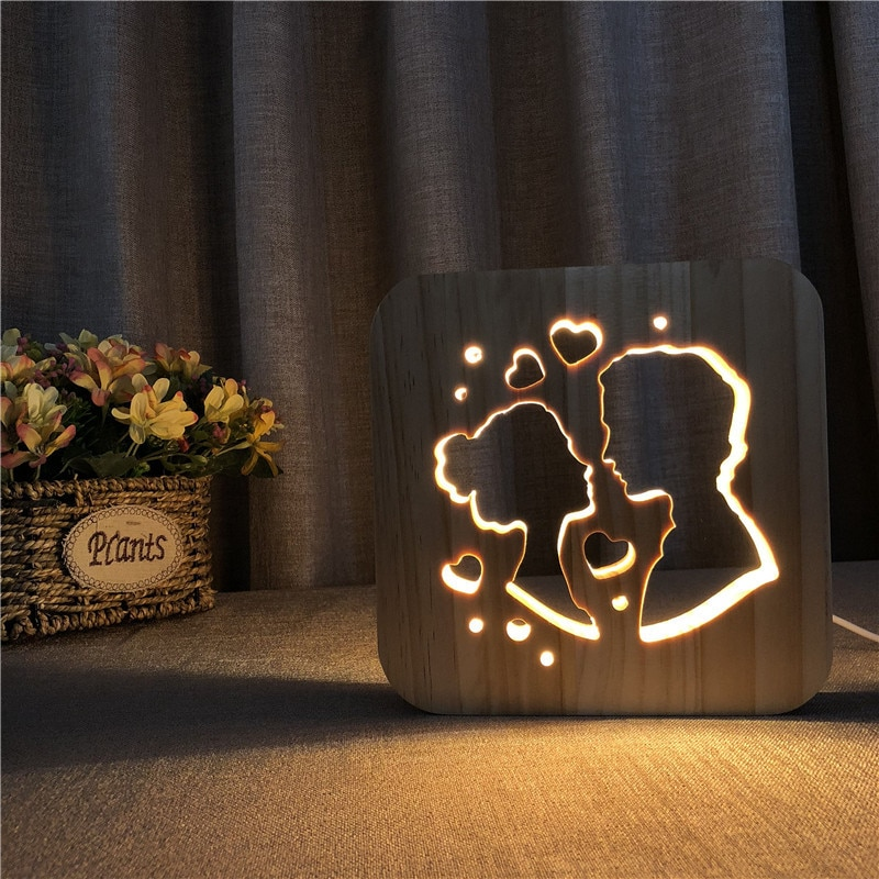 Wooden night light usb plug Home Decor bed lamps for nightstand lamp with usb Bedroom Child Gift Wood Decorative Lighting LED