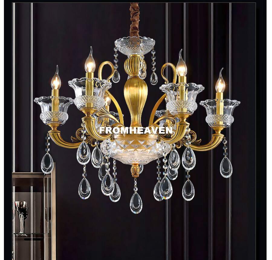 무료 배송 현대 황동 구리 크리스탈 샹들리에 lingting 고급스러운 e14 ac 청동 크리스탈 램프 광택 서스펜션 조명