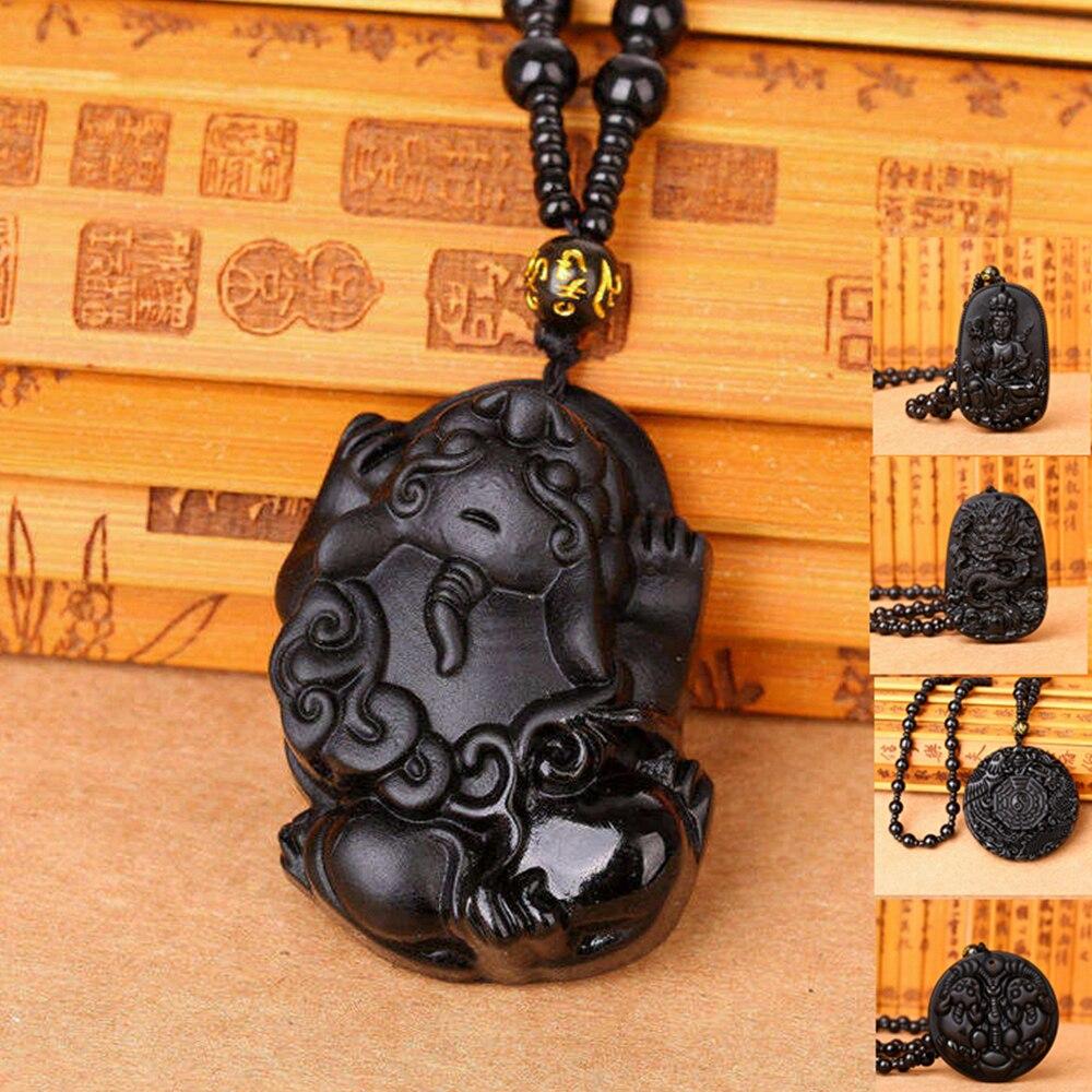3A mezcla Obsidiana natural collares colgantes negro obsidiana collar suerte y amor Buda curación Reiki de cristal piedra mujeres hombres regalos