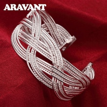 925 srebrna bransoletka bransoletka biżuteria srebrne duże wyplatane bransoletki