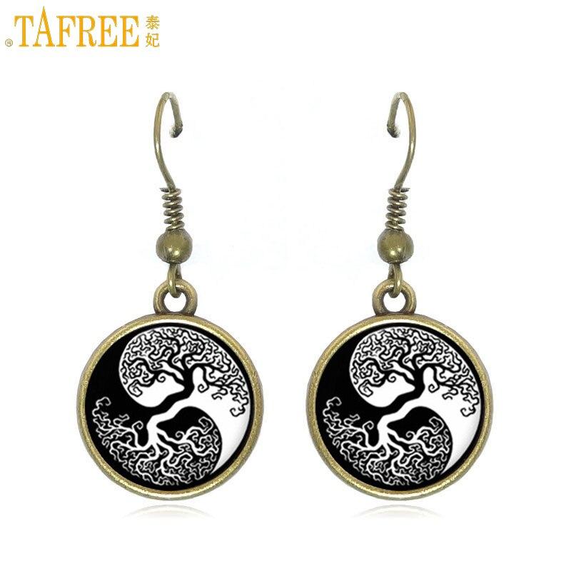 TAFREE vintage yin yang Árbol de la vida antiguo bronce color gota pendientes mujeres retro vida árbol cuelga pendiente señoras joyería D957