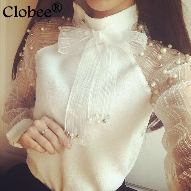 2019 blusas femeninas Organza Bot tie Tops perla blanca camisa Casual mujeres gasa blusa Sexy manga larga vetement femme CJ638