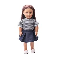 doll clothes striped short sleeve denim skirt t shirts toy accessories fit 18 inch girl dolls and 43 cm baby doll c34