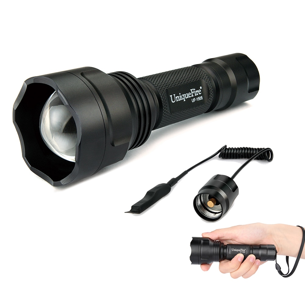 Controle uniquefire xre lanterna led UF-1505 zoom 3 modos led verde/vermelho/branco luz t38 + pressão remota
