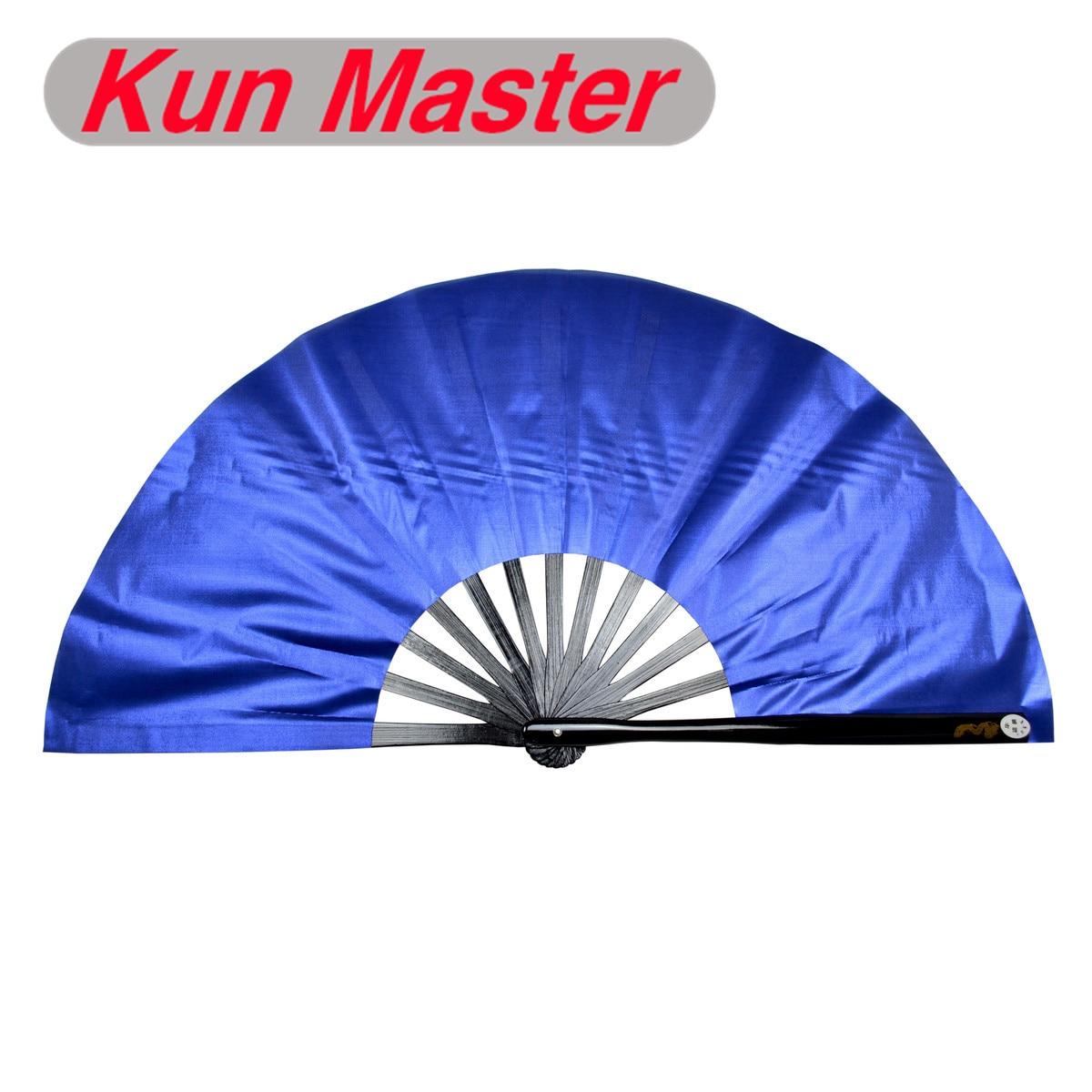 Kun maestro 34 Cm de kungfú chino Tai Chi Fan brillo cubierta azul