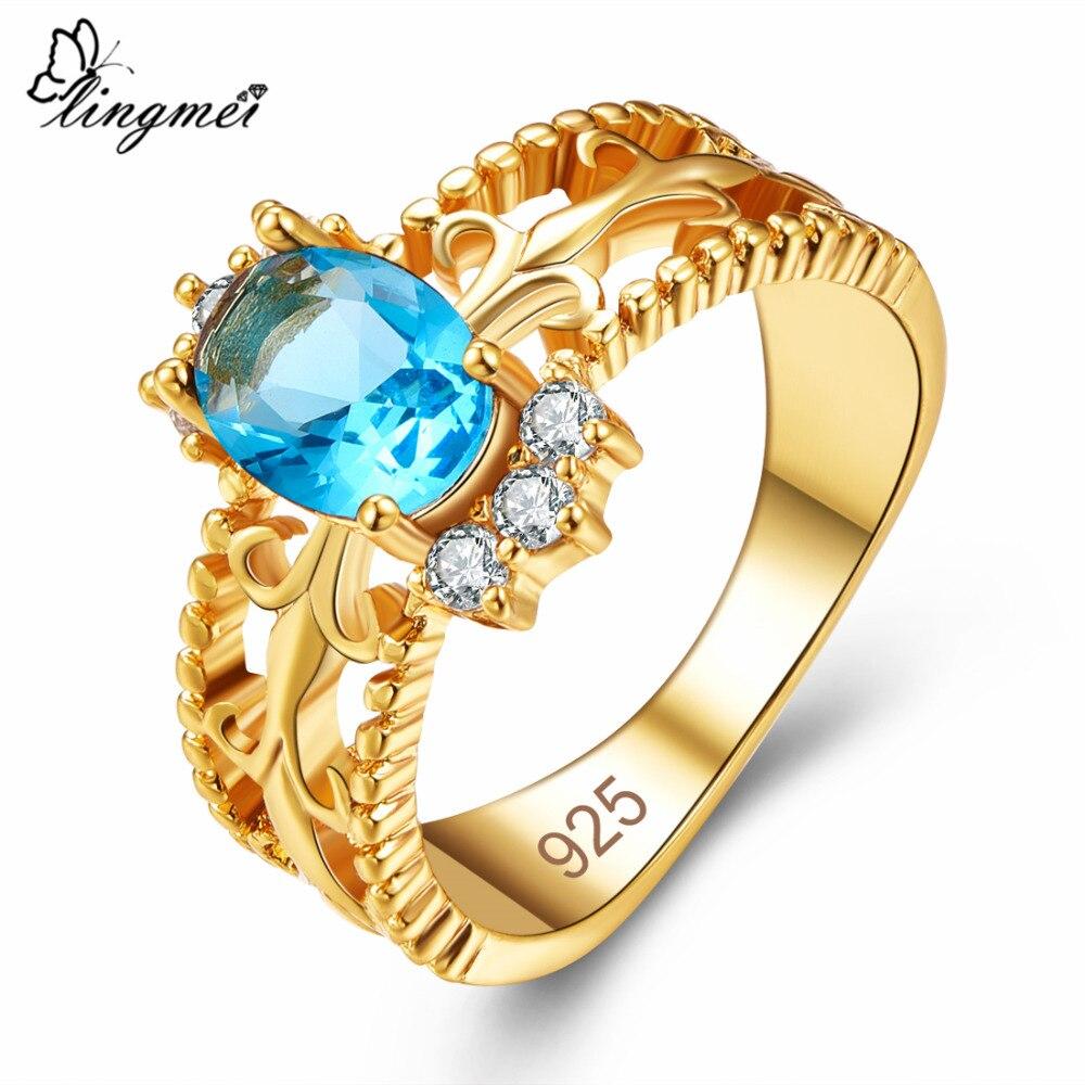 Lingmei novo mujer anel de ouro azul do mar & azul real cz tamanhos completos femms bijoux para bandas de casamento jóias femininas