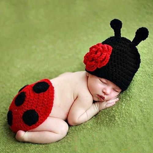 Hand Crochet Ladybug Set Baby Photography Props Newborn Ladybug Hat and Cover Set Infant Animal Beanie Hats недорого