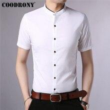COODRONY coton à manches courtes hommes chemise dété Cool chemise hommes Style chinois col Mandarin chemises décontractées daffaires Camisa S96017