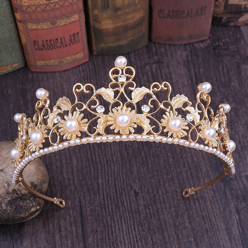 Tiaras de novia de Flor de Oro, corona de perlas, tocado de girasol, joyería para el cabello, decoraciones para el cabello, accesorios para el cabello de boda VL