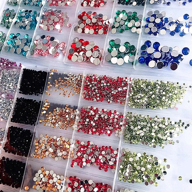 6 Sizes 1.5-5mm Glitter Flat Back Non Hotfix Round Acrylic Diamond Nail Art Rhinestones Gems Decorations Manicure DIY Tips